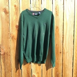 Chaps Green V-Neck Pullover Sweater Cotton Large